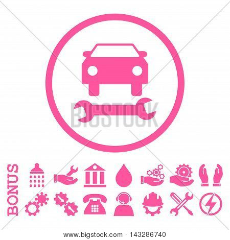 Car Repair glyph icon. Image style is a flat pictogram symbol inside a circle, pink color, white background. Bonus images are included.