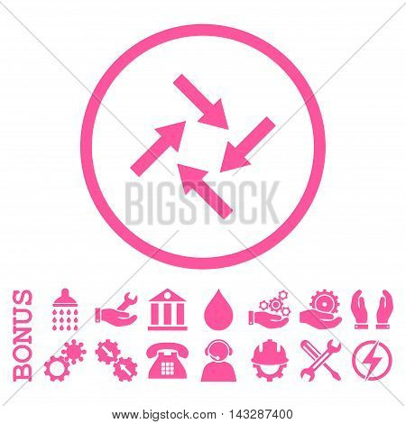 Centripetal Arrows glyph icon. Image style is a flat pictogram symbol inside a circle, pink color, white background. Bonus images are included.