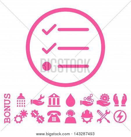 Checklist glyph icon. Image style is a flat pictogram symbol inside a circle, pink color, white background. Bonus images are included.