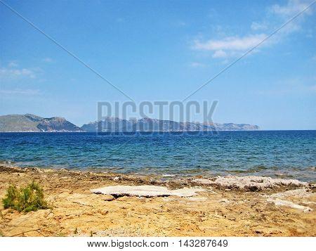 Bay of Pollenca - somewhere between Pollenca and Alcudia view towards Cap de Formentor north of Majorca