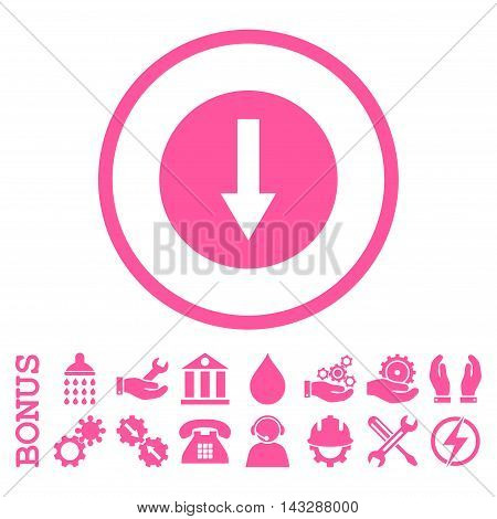 Down Rounded Arrow glyph icon. Image style is a flat pictogram symbol inside a circle, pink color, white background. Bonus images are included.