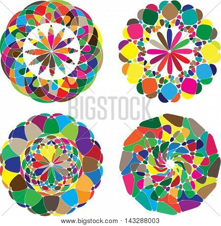 Mandala colored set of vector illustration. Geometric circle element. Kaleidoscope medallion.
