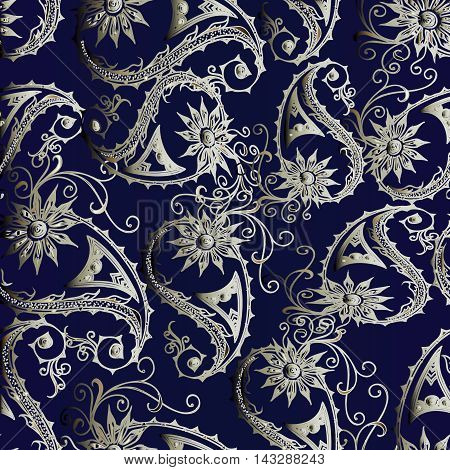 Elegant floral vector seamless pattern with beautiful light volumetric vintage flowers and very tender paisley ornaments on the dark blue background. Ornate paisley ornament in Eastern style,Luxury illustration and royal 3d decor elements with shadow and