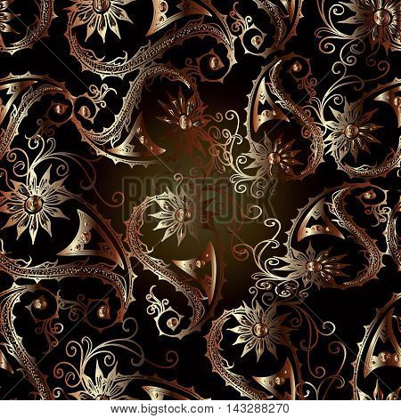 Stylish dark seamless pattern  with volumetric paisley and flowers ornament in brown and gold  colors. Luxury  ornate floral background in Eastern style. Vector illustration