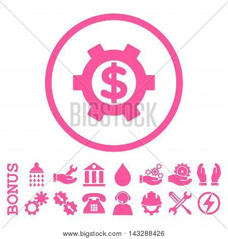 Financial Settings glyph icon. Image style is a flat pictogram symbol inside a circle, pink color, white background. Bonus images are included.