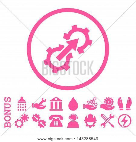 Gear Integration glyph icon. Image style is a flat pictogram symbol inside a circle, pink color, white background. Bonus images are included.