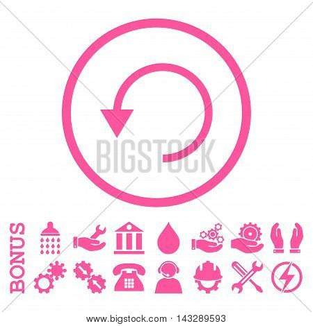 Rotate Ccw glyph icon. Image style is a flat pictogram symbol inside a circle, pink color, white background. Bonus images are included.