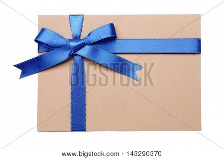Gift card with a blue ribbon isolated on white