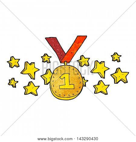 freehand textured cartoon first place medal