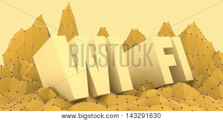 Wi Fi text on low poly backdrop. Mobile gadgets technology relative image