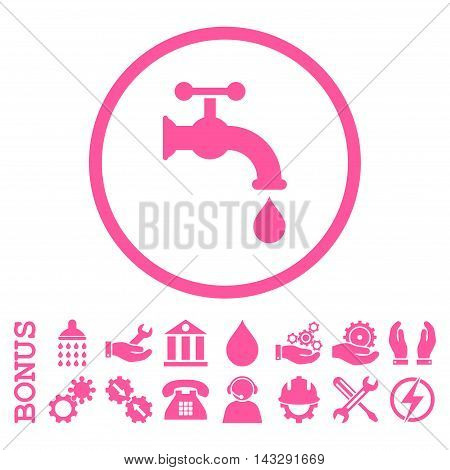 Water Tap glyph icon. Image style is a flat pictogram symbol inside a circle, pink color, white background. Bonus images are included.