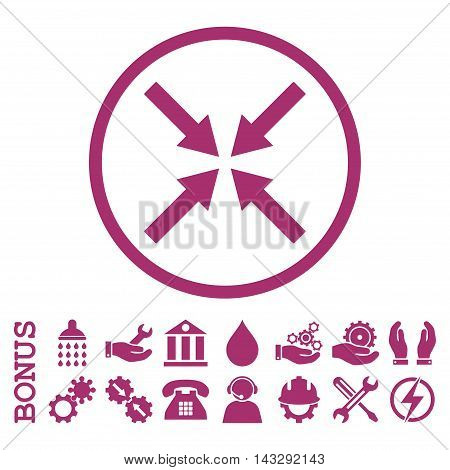 Center Arrows glyph icon. Image style is a flat pictogram symbol inside a circle, purple color, white background. Bonus images are included.