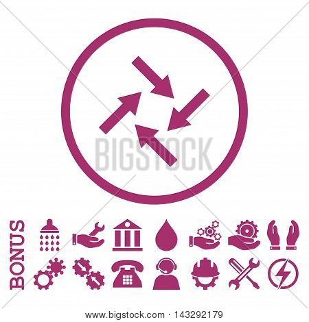 Centripetal Arrows glyph icon. Image style is a flat pictogram symbol inside a circle, purple color, white background. Bonus images are included.