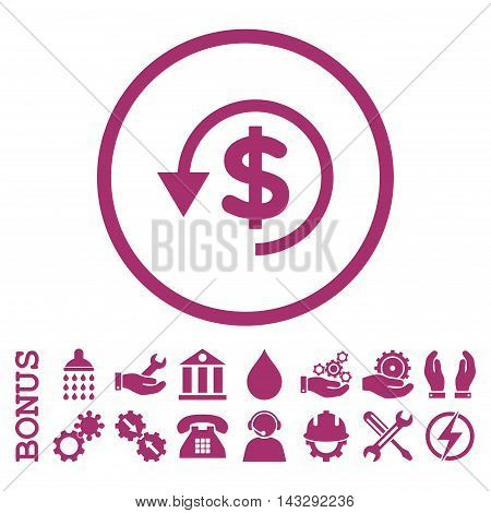 Chargeback glyph icon. Image style is a flat pictogram symbol inside a circle, purple color, white background. Bonus images are included.
