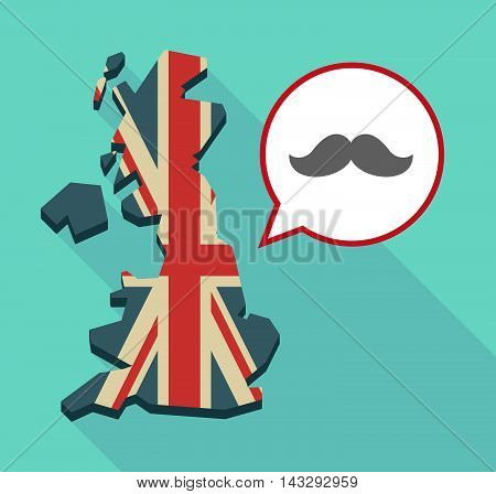 Long Shadow United Kingdom Map With A Comic Balloon And A Moustache