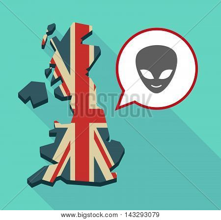 Long Shadow United Kingdom Map With A Comic Balloon And An Alien Face