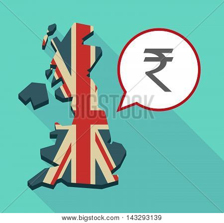 Long Shadow United Kingdom Map With A Comic Balloon And A Rupee Sign