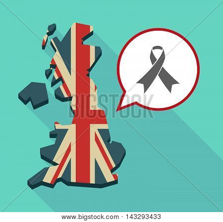 Long Shadow United Kingdom Map With A Comic Balloon And An Awareness Ribbon