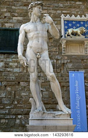 FLORENCE, ITALY - August 23, 2012 : historic David statue by Michelangelo in Florence, Italy.