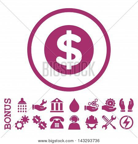 Finance glyph icon. Image style is a flat pictogram symbol inside a circle, purple color, white background. Bonus images are included.