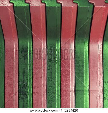 Scratched abstract background with green and red stripes. 3d rendering