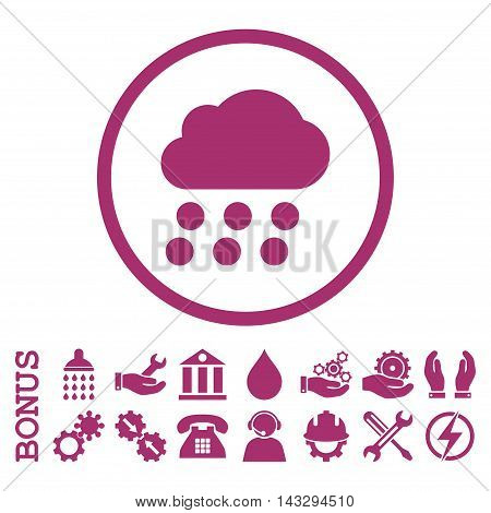 Rain Cloud glyph icon. Image style is a flat pictogram symbol inside a circle, purple color, white background. Bonus images are included.