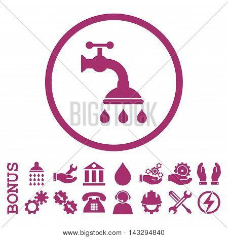 Shower Tap glyph icon. Image style is a flat pictogram symbol inside a circle, purple color, white background. Bonus images are included.