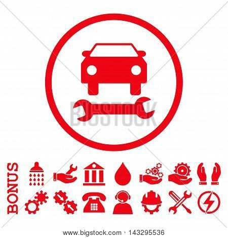 Car Repair glyph icon. Image style is a flat pictogram symbol inside a circle, red color, white background. Bonus images are included.