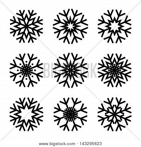 Set of minimalistic winter christmas snow flakes icons in flat design. Vector