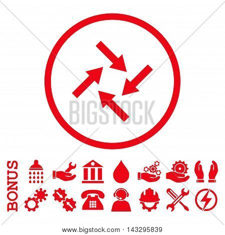 Centripetal Arrows glyph icon. Image style is a flat pictogram symbol inside a circle, red color, white background. Bonus images are included.