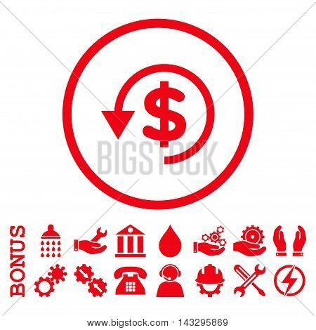 Chargeback glyph icon. Image style is a flat pictogram symbol inside a circle, red color, white background. Bonus images are included.