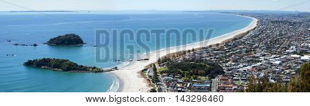 The panoramic view from the top of Mount Maunganui of the same name resort town (Tauranga New Zealand).