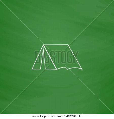 tent Outline vector icon. Imitation draw with white chalk on green chalkboard. Flat Pictogram and School board background. Illustration symbol