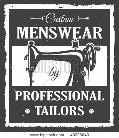 Professional tailor label with sewing machine and vintage grunge texture