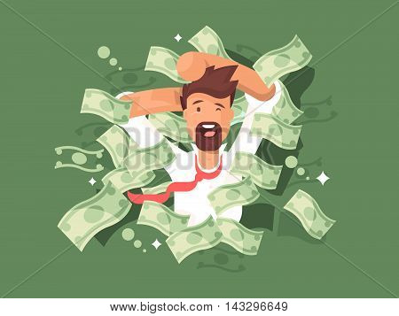 Man in a pile of money. Success businessman rich, vector illustration