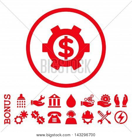 Financial Settings glyph icon. Image style is a flat pictogram symbol inside a circle, red color, white background. Bonus images are included.
