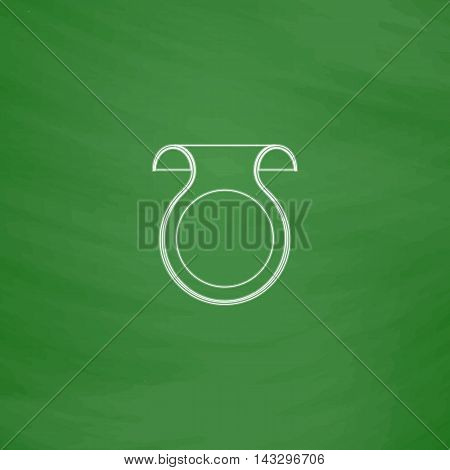 Wobbler Outline vector icon. Imitation draw with white chalk on green chalkboard. Flat Pictogram and School board background. Illustration symbol