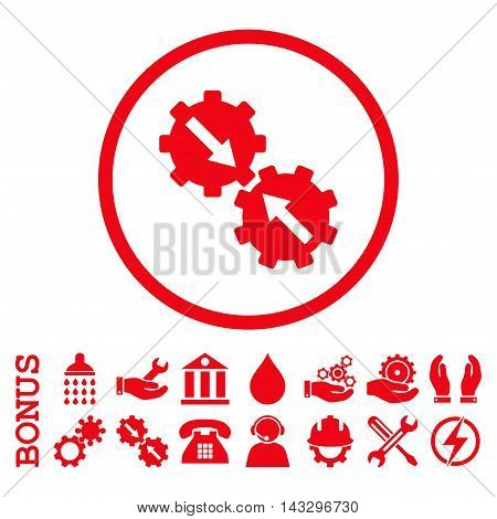 Gear Integration glyph icon. Image style is a flat pictogram symbol inside a circle, red color, white background. Bonus images are included.