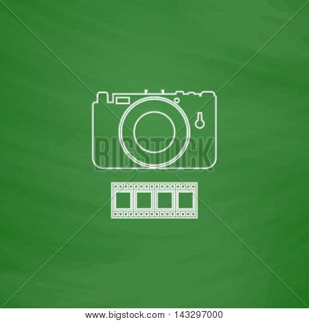 Camera Outline vector icon. Imitation draw with white chalk on green chalkboard. Flat Pictogram and School board background. Illustration symbol