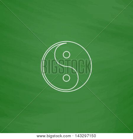 Ying-yang Outline vector icon. Imitation draw with white chalk on green chalkboard. Flat Pictogram and School board background. Illustration symbol