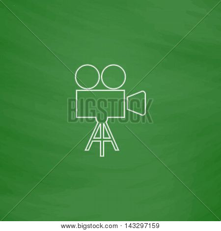 camcorder Outline vector icon. Imitation draw with white chalk on green chalkboard. Flat Pictogram and School board background. Illustration symbol