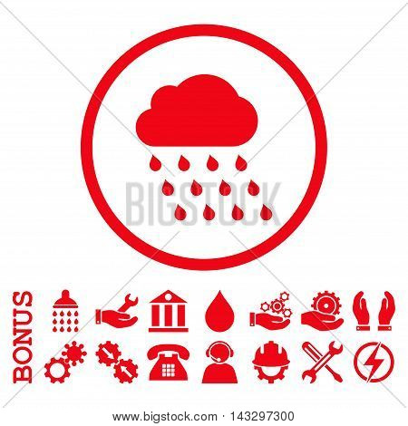 Rain Cloud glyph icon. Image style is a flat pictogram symbol inside a circle, red color, white background. Bonus images are included.