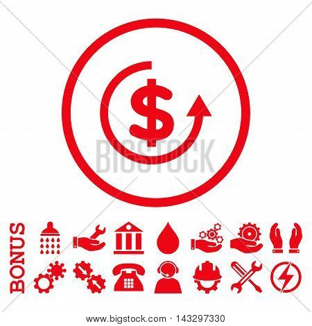 Refund glyph icon. Image style is a flat pictogram symbol inside a circle, red color, white background. Bonus images are included.