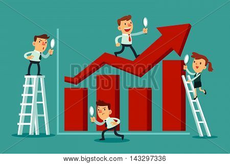 Business team with magnifying glass analyze bar graph