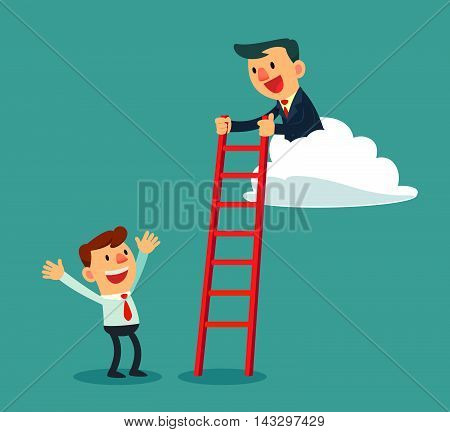 Successful businessman on cloud help another businessman by holding ladder