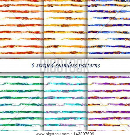 Vector colorful set with seamless striped patterns in watercolor style. Can be used for wallpaper pattern fills web page surface textures textile print wrapping paper.
