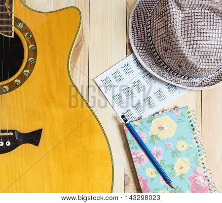 Guitar Summer Travel kit for song writing and diary.