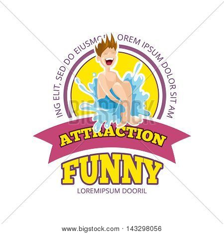 Vector illustration of color emblem with boy jumps in water. Funny Games on playground. Advertise label with place for your text. Picture isolate on white background. Playground Logo design