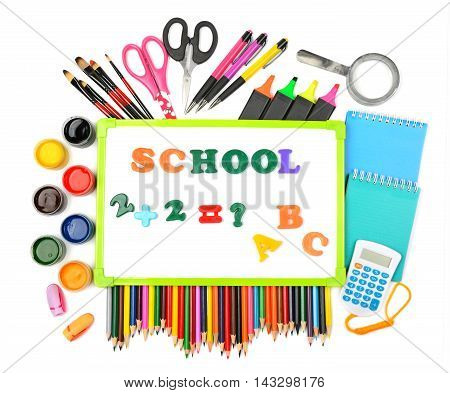 Set school supplies isolated on white background.