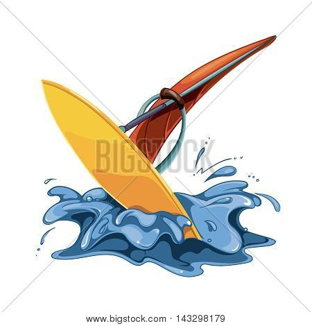 vector illustration of windsurfing in sea water splashes isolate on white background
